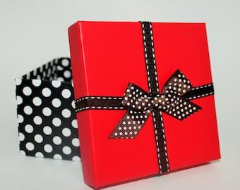 Black, White, and Red Polka Dot Gift Box, Candy Box, Storage Box,