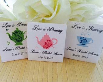 Wedding Tea Party, Bridal Tea Party, Tea Bag Favors, Tea Bag Holder, Tea Packets, Personalized Tea Bags