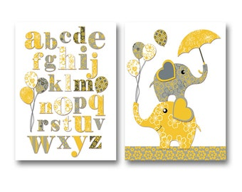 Neutral nursery art wall decor for kids room artwork playroom alphabet poster abc print baby girl room decor nursery elephant yellow grey