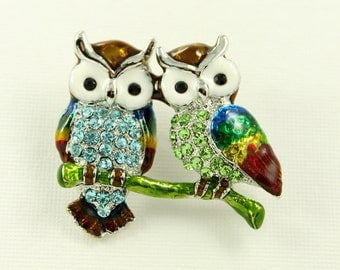 Owls Brooch Crystal Blue Green Owls Broach Jewelry Owl Brooches