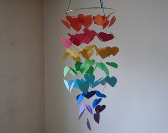 Rainbow floating Hearts mobile. Nursery mobile, Crib mobile,Paper Heart mobile,Happy Birthday,Wedding.Gift. Choose Your Colors!