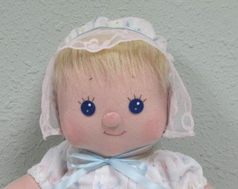 Soft Baby Doll with blond hair and blue eyes, fabric baby doll, hand made cloth baby doll