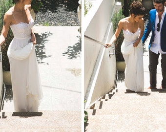 Colette Gown / Boho Wedding Gown / Simple Bohemian Dress