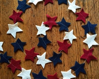 Red white and blue star garland, felt star garland, 4th of July garland, 4th of July decor, Fourth of July party decoration