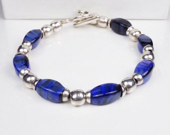 Artisan Sterling Silver 925 Blue Sheen Agate Bead Toggle Bracelet Hand Made