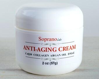 Luxury Rose Anti-Aging  Facial Cream. DMAE, Vit B3, CoQ10, Argan, Avocado oils, Shea Butter, Silk protein, Collagen, Panthenol