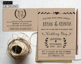 Rustic Wedding Invitation Printable, Kraft Paper Rustic Wedding, Wedding Invitation Suite, Minimalist Wedding Invite, Vintage Wedding Invite