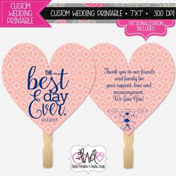 Items Similar To PERSONALIZED WEDDING PRINTABLE Wedding Fan Wedding Program Coral And Navy