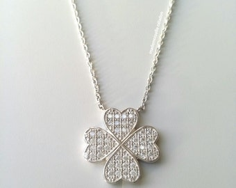 Silver necklace 925/000 - encrusted clover zirkonias / clover pendant necklace / collar position-happiness - silver 925