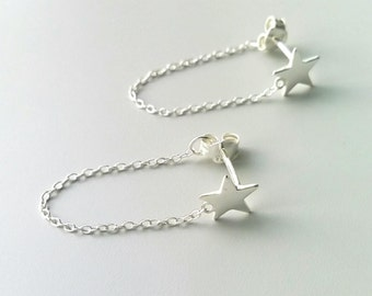 Earrings Silver 925, - chips star pendant + chain, Silver 925/000 - silver 925