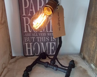 Siggy Copper Industrial Table Lamp In Matt Black With Edison Style Light Bulb