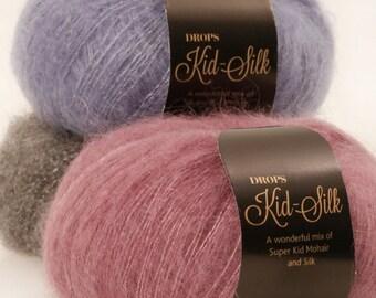 SALE! Garnstudio Drops design KID-SILK 75% kid Mohair 25 silk Luxury glossy fluffy knitting wool 25g yarn