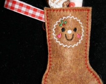 Itty Bitty Gingerbread man stocking Embroidery Machine Design for the 4x4 hoop