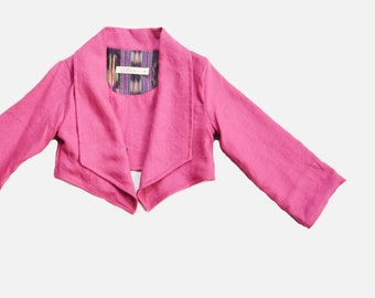 Girls Blazer, Little Girl Jacket, Autumn Childrens Jacket, Linen Blazer, Kids Lined Jacket- Gala, Pink, Raspberry