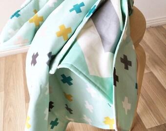 Modern crib blanket. Mint chevron baby blanket. Modern cot blanket. Crib quilt. Crib bedding Baby bedding.