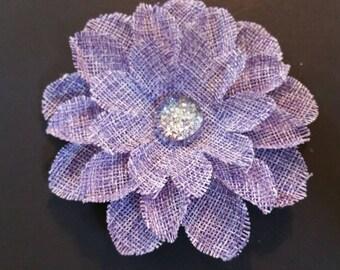 Purple Flower Hair Clip, Silver Center