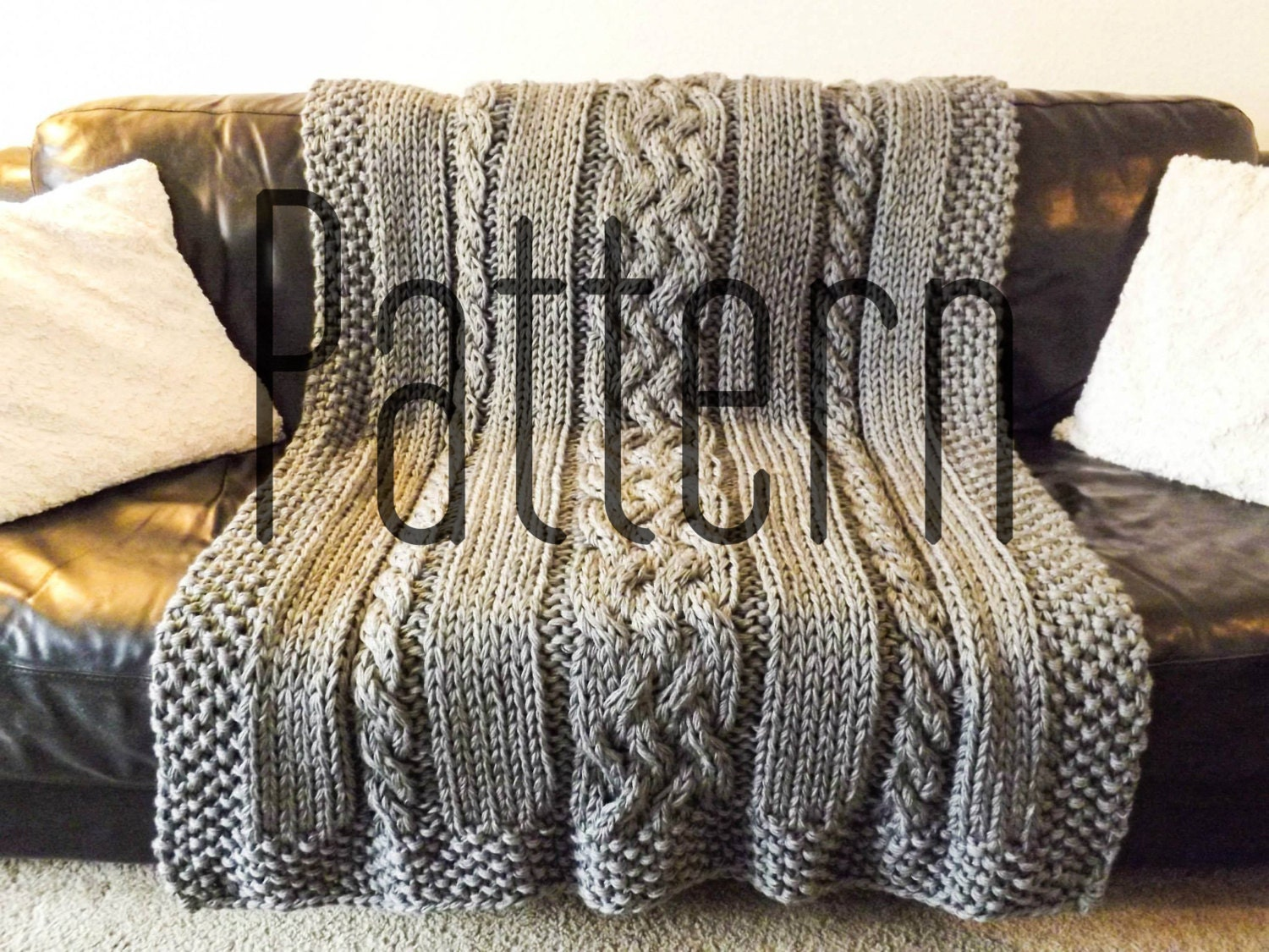 Cable Knit Throw Pattern : Knitting Pattern DIY Knit Cable Blanket by craftingwithstars
