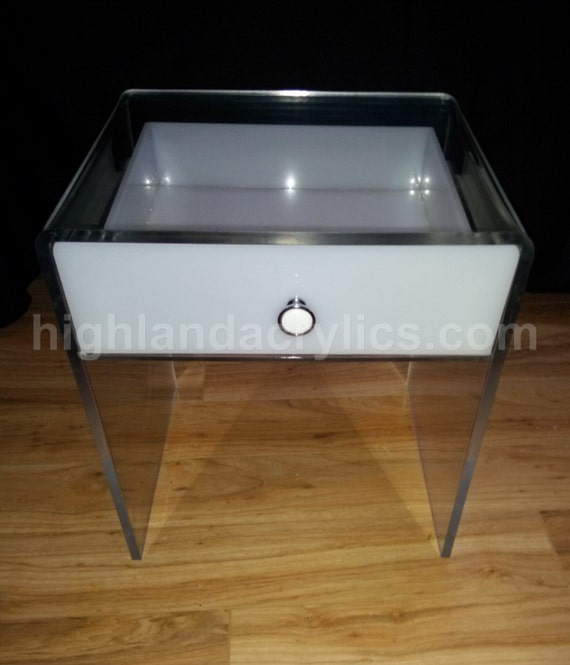 Acrylic Lucite End Table / Nightstand With Drawer. Custom Hand Made.