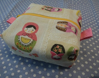 Cosmetic bag, Makeup bag, Toiletry bag,boxy bag with Russian dolls outside and cherry pattern inside
