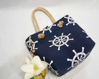 Sailor Print Fabric Handbag-Purse- Beach Bag-Shopping Bag