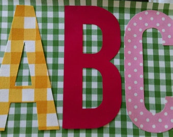 Enormous large applique fabric alphabet letters or numbers nearly 8 INCHES high (20cm) sew on or no sew