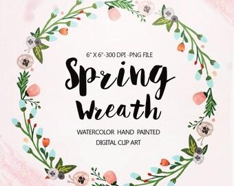Watercolor Wreath clipart, Wedding floral Clip art, Flowers Wreath Clipart, wedding flowers clip art, Watercolour Hand Painted Clip Art