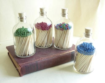 Large Reclaimed Glass Apothecary Bottle with Matchsticks -  100ml Size Choose Color!