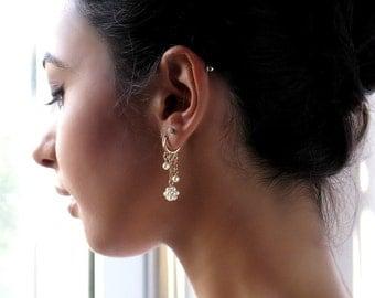 Pearl hoop earrings, Unique hoop earrings, Dangle pearl earrings, Bridal earrings gold, Pearl bridal earrings, Pearl wedding earrings
