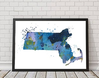 Massachusetts Print, Massachusetts Watercolor, Massachusetts Illustration, Wall Decor, USA Print, Massachusetts State