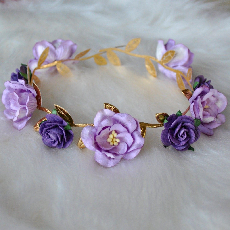 Flower Crown Purple: VIOLA FLOWER CROWN Gold Flower Crown Purple Crown Flower