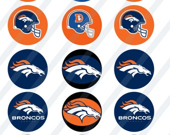 Denver Broncos digital collage sheet 8.5x11 2 inches round for cupcake toppers   INSTANT DOWNLOAD