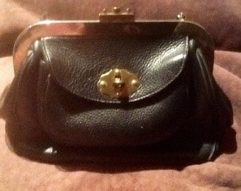 Roger Van S Black Leather Handbag