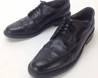 Men's Vintage Dexter Black Leather Wingtip Brogue Lace Up Dress Oxford Shoes USA Sz. 11 1/2 11.5 D USA Made