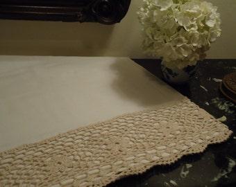 Vintage Crocheted Twin Sheet Ecru Handmade