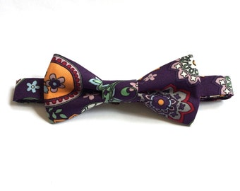 Purple patterned bow tie