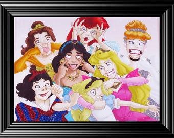 Whimsical Disney Princesses photo emblished with glitter