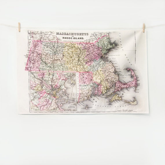 TEA TOWEL  - Massachusetts & Rhode Island Vintage Map, Kitchen Decor