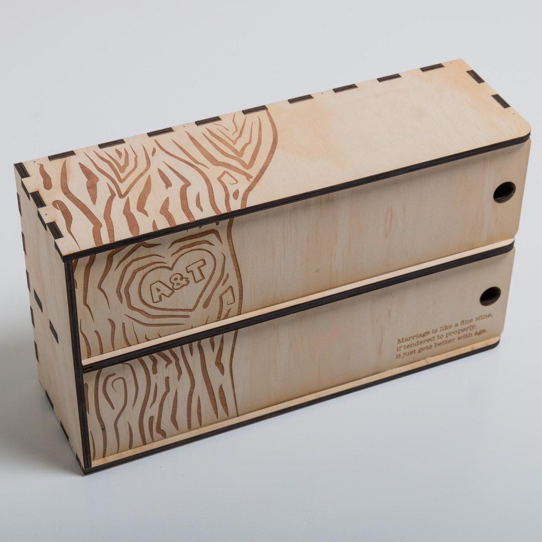Personalised Wedding Gift Oak Bottle Box : Personalised Wine Box 2 Bottle Wedding Gift