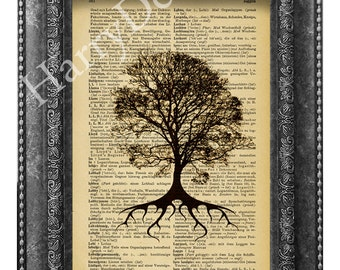 Vintage Wishing Tree Art Print, vintage book print,  Wish tree wall decor, Wall hanging, dictionary page print