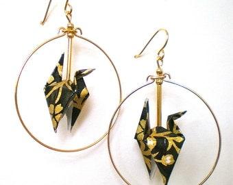 Gold Vines on Black Crane Hoop Earrings
