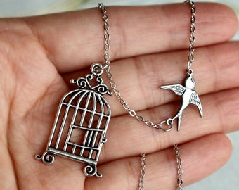 Freedom Bird flying away from Birdcage, Graduation Necklace Jewelry,  Silver Bird Cage pendant Necklace, Be Free Bird Necklace