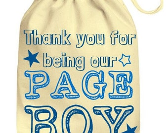Personalized Wedding Drawstring Cotton Gift Bag Page Boy Gift Bag, Personalised Wedding Bag Favors Just Married Pageboy Favors Wedding Day