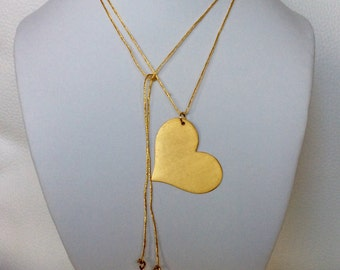 24k Yellow Gold Plated Heart Necklace