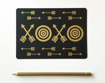 Love Postcard Set, Gold XOXO Lettering, Black Postcards (Set of 3)