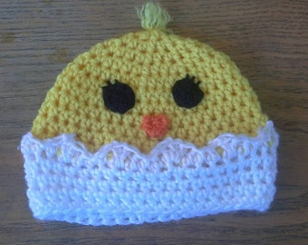 Hatching chicken beanie hat crocheted