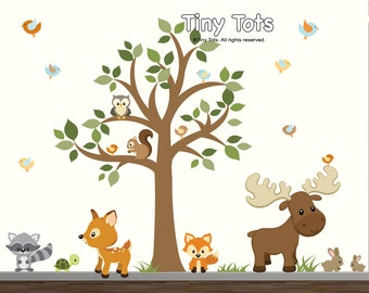 Nursery Tree Wall Decal, Forest Set with Woodland Animals-Tree Wall decal