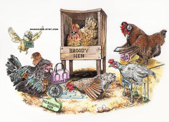 funny chicken wall art print illustration kitchen wall art