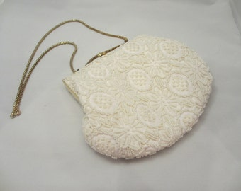 Vintage Evening Bag Adorned with White Beads