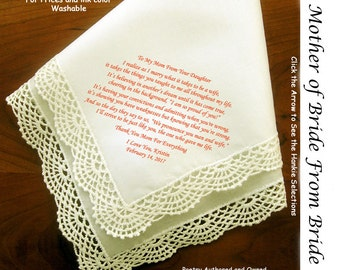 Mother of the Bride Gift Handkerchief  0105 Sign & Date for Free!   5 MOB Wedding Hankie Styles and 8 Ink Colors.