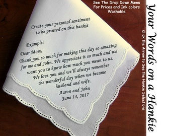 Wedding Hankies With Your Customized Personalization  ~   Printed on the Handkerchief. Thank the Mother of the Bride and loved ones.